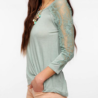 Pins And Needles 3/4 Sleeve Lace Inset Tee