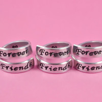 Forever Friends - Spiral Rings Set (3 Rings), Hand Stamped, Shiny Aluminum Rings, Friendship, BFF Gift, Script Font Version