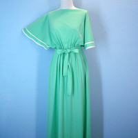 1970s Lime Green Dress Funky Bell Sleeves Midi Ankle