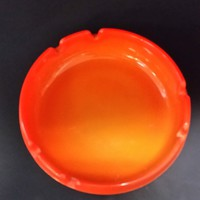 L E Smith orange glass ashtray