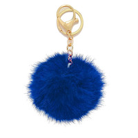 Blue Rabbit Fur Pom Pom Key Chain / Bag Charm Key chain, gift