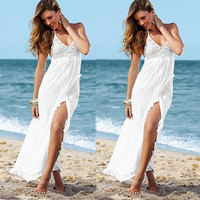 V-Neck Sexy Cross Backless Chiffon Dress