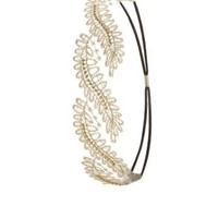 Gold Rhinestone Embroidered Mesh Head Wrap by Charlotte Russe