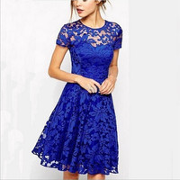 Women's Fashion Lace Slim Fit Round Neck Short Sleeve Casual Summer Dress  _ 3169