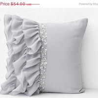 Valentine SALE Grey Pillow covers -Decorative Pillow -Silver ruffled sequin throw pillow -24x24 -Gray Decorative Pillows-Gift -Wedding-Anniv