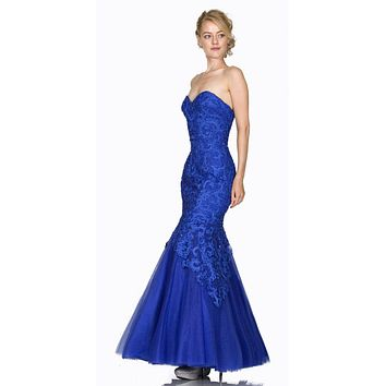 Strapless Appliqued Mermaid Prom Gown Lace Up Back Royal Blue