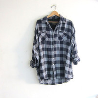 Vintage blue and gray Buffalo check Plaid Flannel / Grunge Shirt / distressed Button up shirt
