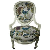 Pre-owned Antique Slipper Chair with Peacock Upholstery