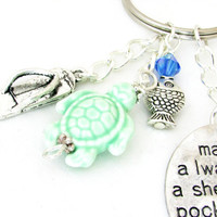 Sea Turtle Keychain, Beach Keychain, Car Accessory, Shell Keychain, Flip Flop Keychain, Beach Quote Keychain, Beach Gift