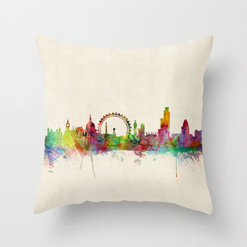 London Skyline Watercolor Throw Pillow by ArtPause