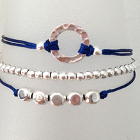 Triple Silver Friendship Bracelet with Adjustable Cord in Royal Blue