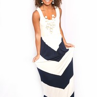 Walk This Way Again Maxi in Navy & White