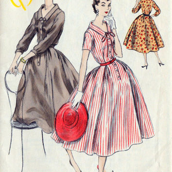 "1950s Full Skirt Dress Vintage Sewing Pattern, Rockabilly, Summer Fashion, Vogue 9648 Bust 32"" uncut"
