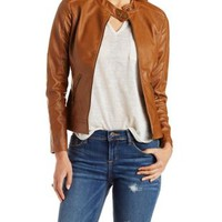 Brown Faux Leather Moto Jacket with Zipper Pockets by Charlotte Russe
