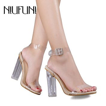 Women Sandals Lucite Transparent High Heels Open Peep Toe Sandal Thick Heeled Adjustable Buckle Lady Shoes