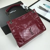 YSL SAINT LAURENT WOMEN'S LEATHER NIKI CHAIN SHOULDER BAG SHOPPING BAG