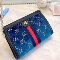 GUCCI new pattern velvet women's chain bag shoulder bag