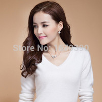 Cashmere Wool Blend Sweater Female V-neck Pullover Sweater Short Design Slim Solid Color Sweater Basic Free Shipping