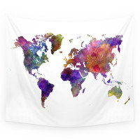 Society6 World Map In Watercolor Wall Tapestry
