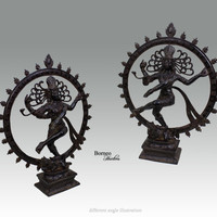 """Shiva Nataraja 13.4""""Lord Of Dance Destroyer Of Ignorance In The World; New Life & Renewal.Bronze Shiva In A Ring Of Fire Hindu God Diety"""
