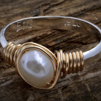 Earth Grace Hand Hammered Ring w/Freshwater Pearl