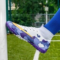 Soccer Shoes Football Boots Cleats Ankle Long Spikes TF Spikes High Top Sneakers Soft Indoor Turf Soccer