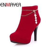 ENMAYER Snow Boots Fashion Women's Square Heels Ankle-High Solid Style Boots Lady's Zip Round Toe Warm Winter Boots Shoes