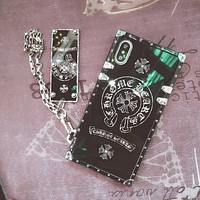 Chrome hearts Tide brand square corner iPhone6s mobile phone shell hard shell protective cover Black