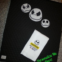 JACK SKELLiNGTON BaBY DiAPER CHANGiNG Mat Pad and BuRP CLoTH QUiLTED CoTTON & CuDDLe PERSONALiZE IT EMBROIDERED CUSToM Designs by Sugarbear