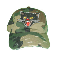 Vintage Culture Mad Cat Patched Distressed Dad Hat In Camo