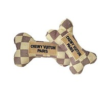 Chewy Vuiton Checker Bone Plush Dog Toy - 3 Sizes