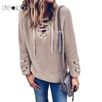 Women Knitted Lace-up Sweater
