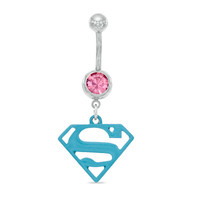 014 Gauge Blue Supergirl Logo Dangle Belly Button Ring with Pink Crystal in Stainless Steel - - View All - PAGODA.COM