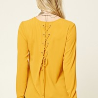 Lace-Up Back Crepe Top