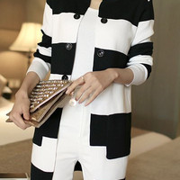 White and Black Broad Striped Knitted Long Cardigan