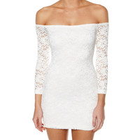 Minkpink Off The Shoulder Dress In White Lace- Found on Bib + Tuck