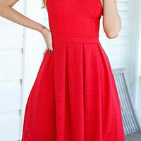 Red Pleated Zippered Dress