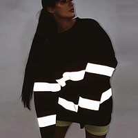 3M Reflective Striped Oversized Pullover