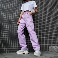 Women Simple Fashion High Waist Back Strap Leisure Pants Trousers Multi-pocket Straight Pants