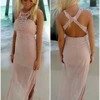 Heavenly Summer Crochet High Neck Fitted Blush Maxi Dress