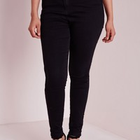 Missguided - Plus Size High Waisted Skinny Jeans Black