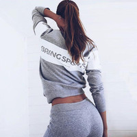 Hot Sale Winter Women's Fashion Alphabet Print Hoodies Sportswear Set [9839916431]