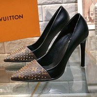 LV Louis Vuitton Fashionable Woman Sexy Leather Rivet Pointed High Heels Shoes