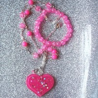 Pink Love - Neon Pink Heart and Holographic Star Charm Necklace with Matching Beaded Stretch Bracelet from On Secret Wings