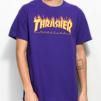 Thrasher Flame Logo Purple T-Shirt | Zumiez