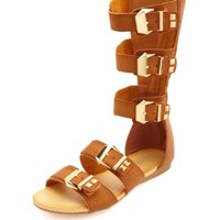 Studded Mid-Calf Flat Gladiator Sandals by Charlotte Russe - Cognac