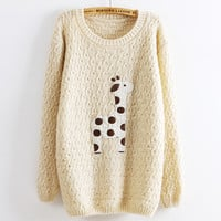 Super Adorable Cartoon Giraffe Loose Pullover Sweater