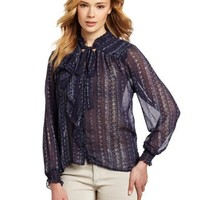 Democracy Women's Front Ruffle And Tie Long Sleeve Button Down Shirt