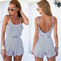 Fashion Navy Striped Jumpsuit