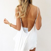 White Sleeveless Top with Open Tie Scoop Back